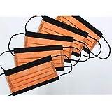 【日本製】国産3層構造不織布カラーマスク オレンジ(橙)✕ ブラック(黒)5枚入