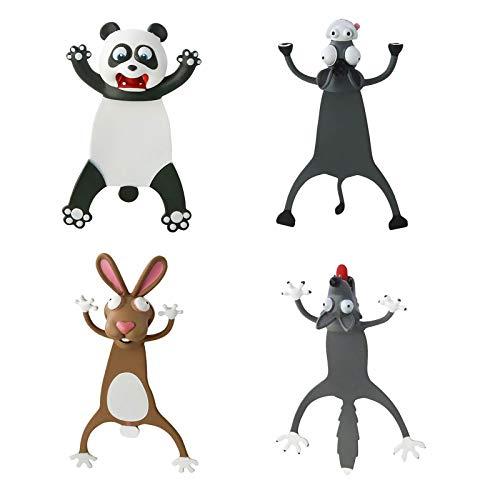 1/2/4 Stück Cartoon Lesezeichen 22D Tier Lesezeichen Kawaii Kinder Bookmark Ostergeschenk Niedlich Lustig Lesezeichen Magnetisch Geschenk für Kinder Mädchen Jungen Bücher Lesen für Eltern-Kind-Zeit