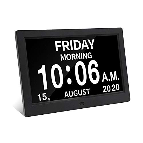 Digital Calendar Day Clock Photo Frame- Auto Dimmable Display 12 Alarm Options,Extra Large Impaired Vision Digital Clock with Non-Abbreviated Day & Month Alarm Clock (9 Inch Black) Alarm Clocks Dining Features Kitchen