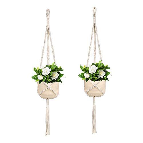 Koitoy 2 Stück Pflanzen Makramee Aufhänger Blumenampel Hängeampel für Kleine Blumentopf Innen oder Außen Hängender Blumentopf Pflanzenhalter Pflanzenhänger für Balkon Decke 80cm (Beige-2stk)
