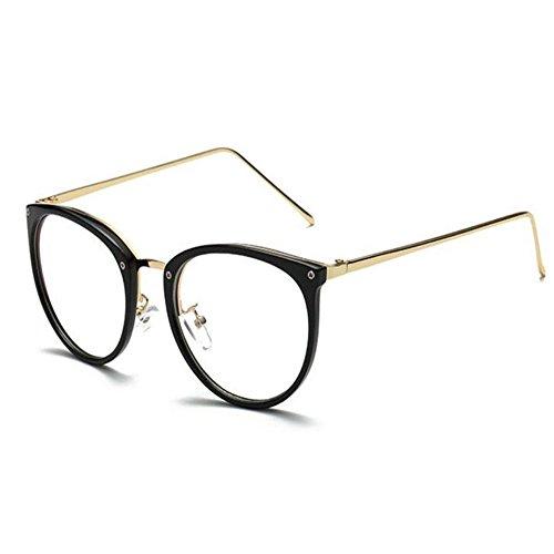 Hzjundasi Computadora Gafas Luz azul Filtrar Vintage Lente clara Lector Hombres/Mujer Anti-fatiga (Negro brillante, 52)