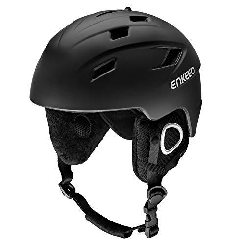 ENKEEO Skihelm 2-in-1 Helm Snowboardhelm Motorrad Bike Wind Schutzhelm mit abnehmbarem Innenfutter und Ohrenschützer, kompatible Skibrille (Schwarz XL)