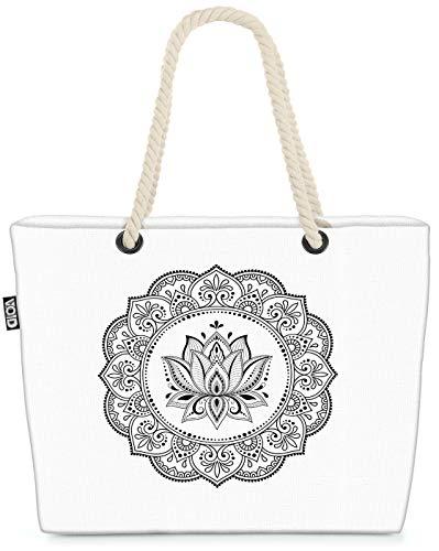 VOID Mandala Lotus Blüte Strandtasche Shopper 58x38x16cm 23L XXL Einkaufstasche Tasche Reisetasche Beach Bag