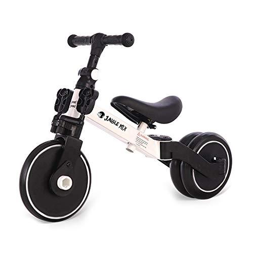 BIWOND Triciclo Jungle Mix (Modo Andador, Modo Triciclo, Modo Bicicleta, Ruedas Anchas, Manillar Antideslizante, Pedales Desmontables, Diferentes Posiciones) – Blanco