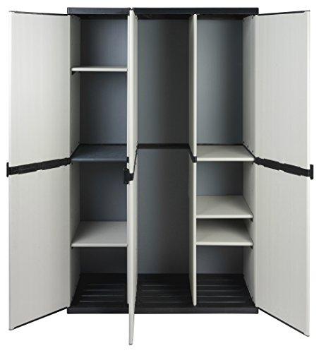 Modularer Universal Kunststoffschrank mit DREI Türen, Spind/Freifach und höhenverstellbaren Böden. Robuste Ausführung, in Grau. Maße BxTxH : 102 x 39,5 x 168 cm.
