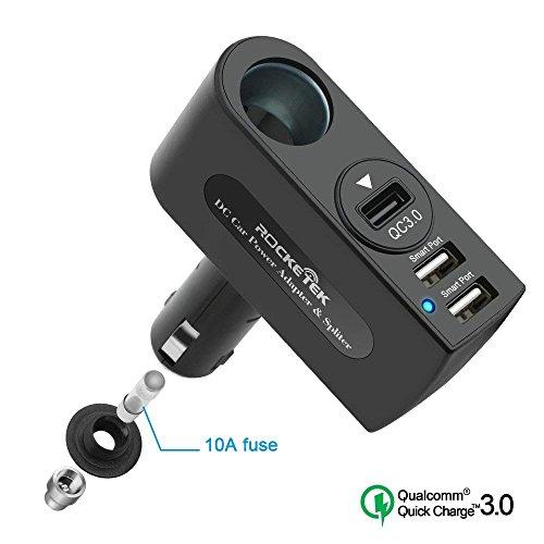 Adattatore di caricabatteria ad alta velocità USB 3.0, adattatore per accendisigari con attacco USB 2.0 di Rocketek 2 USB con...