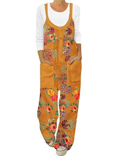 ACHIOOWA Latzhose Damen Floral Overall Jumpsuit Ärmellos Lange Hose Gelb-G22867 L