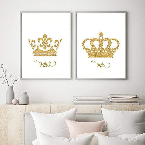 WTYBGDAN Leinwand Malerei König und Königin Gold Krone Liebe Poster Paar Schlafzimmer Dekoration Wandkunst Bilder Valentinstag Geschenk Mädchenzimmer | 30X50cmx2Pcs / ohne Rahmen
