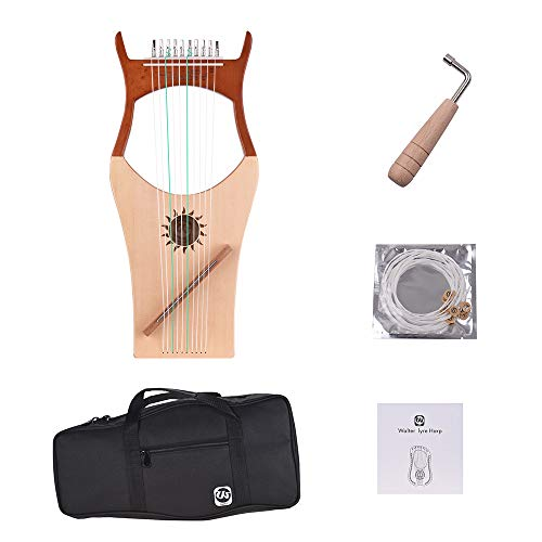 Muslady Walter.t Lira Arpa Madera 10 Cuerdas Nylon Tapa de Palisandro Tablero de Madera de Caucho Instrumento de Cuerda con Bolsa de Transporte
