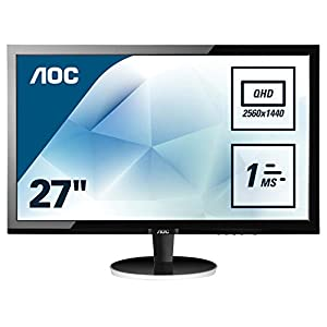 "AOC Q2778Vqe 27"" Widescreen TN LED Black Monitor (2560x1440/1ms/VGA/DVI-D/HDMI/DP) 21"
