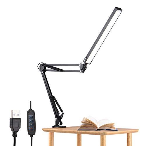 Aibecy Aro de luz,Lámpara de escritorio LED flexible con abrazadera Lámpara de brazo oscilante de metal ajustable de 10 W para el cuidado de los ojos, 10 modos de brillo regulable en 3 colores