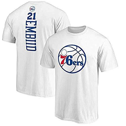 Li Longue T-Shirts Mens Maillots de Basket-Ball américains de Style américain NBA Hommes d'été col Rond 76ers Manches Courtes Gilets Tops (Color : White, Size : XXL)