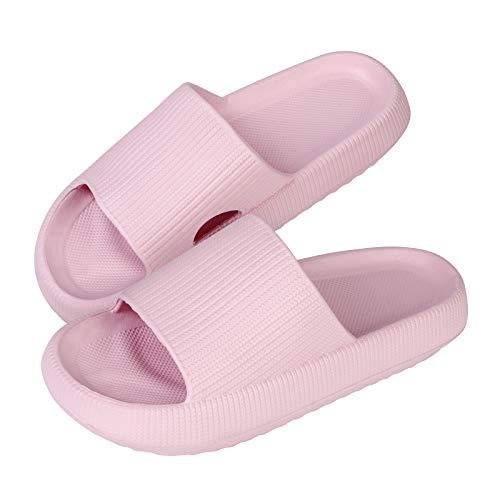MoneRffi Herren Damen Badeschuhe Badeschlappen Slippers Cloudyzz Schlappen Sommer Streifen Hausschuhe Home Slippers rutschfeste Pantoletten Badelatschen Strand Sandale(rosa,40/41 EU)