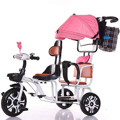 GST Dreiräder Zwei-Sitzer-Dreibänder, hochkarätiger Stahl-Zweier-Push-Pedicab-Fahrrad-Zweisitzer mit einem einzelnen Baldachin/doppeltem Barriere/Licht, DREI Rädern der Kinder, weiß