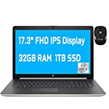 2020 Premium HP 17 Laptop Computer 17.3' FHD IPS Display 10th Gen Intel Quad-Core i5-1035G1 (Beats i7-8550U) 32GB DDR4 1TB SSD DVD Backlit KB WiFi HDMI Win 10 + iCarp Wireless Mouse