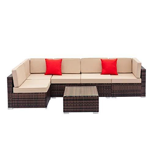 Conjunto de sofá de ratán de Tejido Totalmente Equipado con sofás de Esquina de 2 Piezas y 4pcs Sofás Individuales y 1 PCS Mesa de Centro de Mesa marrón Degradado