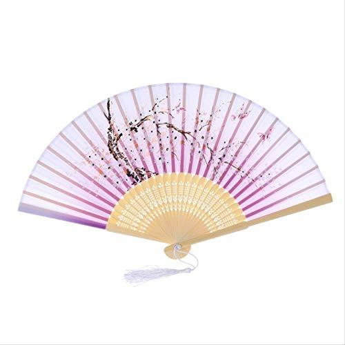 Faltfächer Klassischer Tanzfächer im chinesischen Stil Geschenkfächer im nationalen Zoll Kirschblüten Baumwollähnlicher Lustring Faltfächer