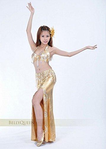 ベリーダンス 衣装 セット ベリーダンス コスチューム ブラトップ 腰ベルト スカートのセット 衣装 コスチューム ゴールド