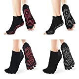SOX TOWN Yoga Socks with Half Toe Non-Slip Toeless for Women Pure Pilates Barre Ballet Dance Barefoot Workout(Five Toe 2+Half Toe 2 Black)