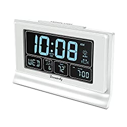 DreamSky Auto Set Digital Alarm Clock with USB Charging Port, 6.6 Inches Large Screen with Time/Date/Temperature Display, Full Range Brightness Dimmer, Auto DST Setting, Snooze. (White)