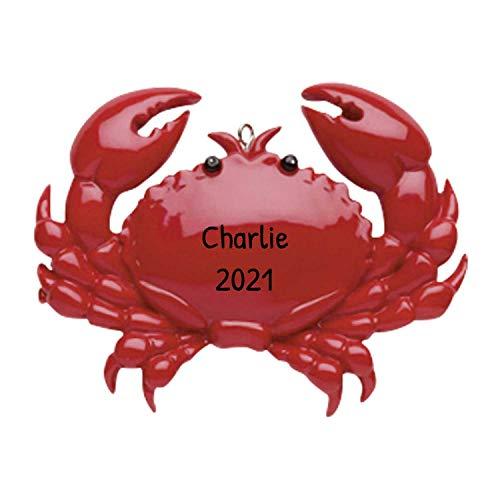 Personalized Crab Christmas Tree Ornament 2020 - Beach Lover Sea Coastal Maine Nautical Cancer Zodiac Tradition Sensitive Sacred Good Omen Boston Happy Marriage Birthday Year - Free Customization