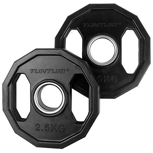 Tunturi Weight Plates Discos Olímpicos Goma, 2 Unidades, Unisex Adulto, Black, 1