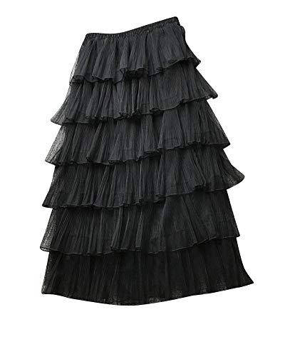 Kasen Mujer Falda ala Rodilla Capas Cintura Elástica Tul Faldas Negro