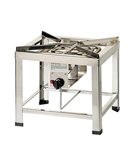 ChattenGlut Professional Hockerkocher - freistehendes Tischgerät aus Edelstahl mit Brenner - 14kW, regelbar für Flüssiggas, 460x460x420 mm, incl. Schlauch und Regler