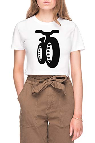 Fatbike Dames Bijsnijden T-shirt Tee Wit Women's Crop T-shirt Tee White