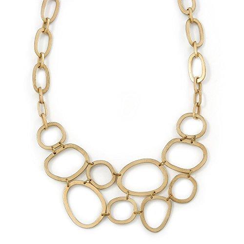 Avalaya, collana geometrica con maglie ovali, colore: oro opaco, dimensioni: 36cm, allungabile di 5cm