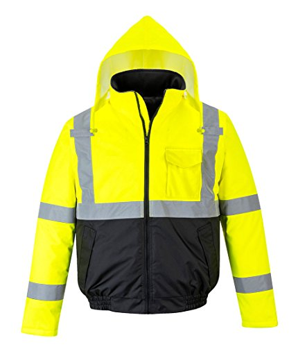 Portwest US363YBR6XL Hi-Vis Two-Tone Bomber Jacket Textile, Size- 6X-Large, Yellow/Black