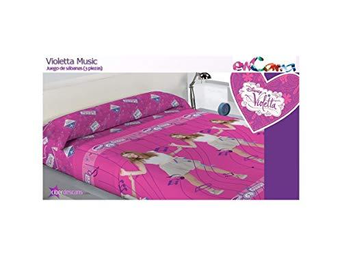 Limneos Juego DE SÁBANAS DE PIRINEO 3/Piezas Violetta, Color: Rosa, para Cama de 105cm