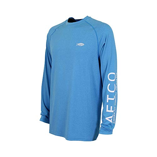 AFTCO Samurai 2 Performance Long Sleeve Shirt - Vivid Blue Heather - XL