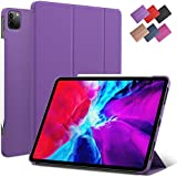 iPad Pro 11-inch case, ROARTZ Purple Slim Fit Smart Rubber Coated Folio Case Hard Cover Light-Weight Auto Wake/Sleep Support Apple Pencil 2 Charge for Model 2018 2020 A2228 A2068 A2230