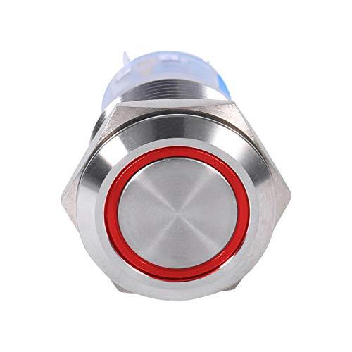 Interruptor de bloqueo automático, interruptor de botón LED de materiales de alta calidad, fácil de instalar(Red LED ring light)