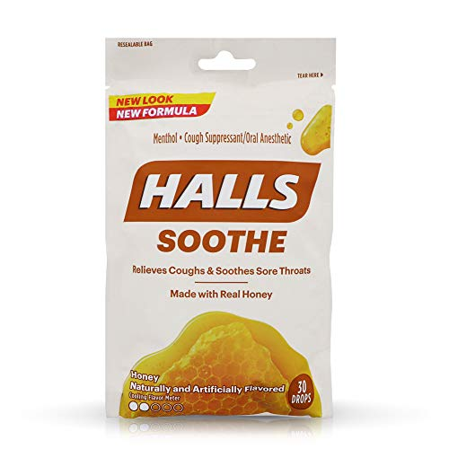 Halls Honey Naturally & Artificially Flavored Menthol Drops 30 ea (Pack of 6)