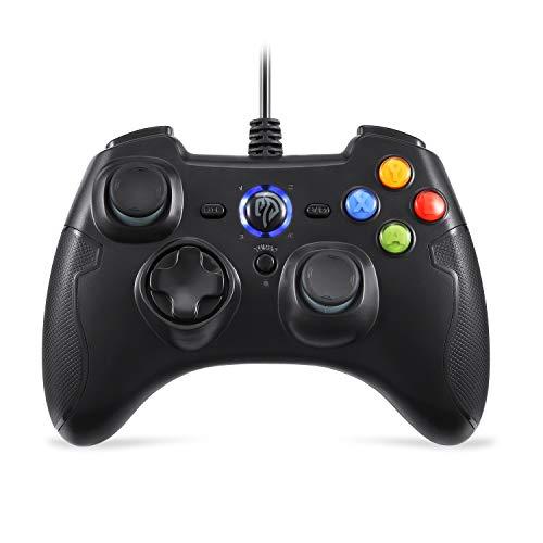 AZUOYI Longitud De La Línea 2 Metros Controlador De Juegos con Cable, Joystick para Juegos De PC con Doble Vibración Turbo Y Botones De Activación para Windows/Android / PS3 / TV Box