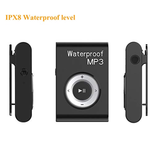 waterproof mp3 players for swimmings QYXM Waterproof Mp3 Player for Swimming, 8GB Underwater Music Players with Clip, Support Shuffle Mode and 15 Hours Playrback/ IPX8 Waterproof Level for Surfing/Swimming