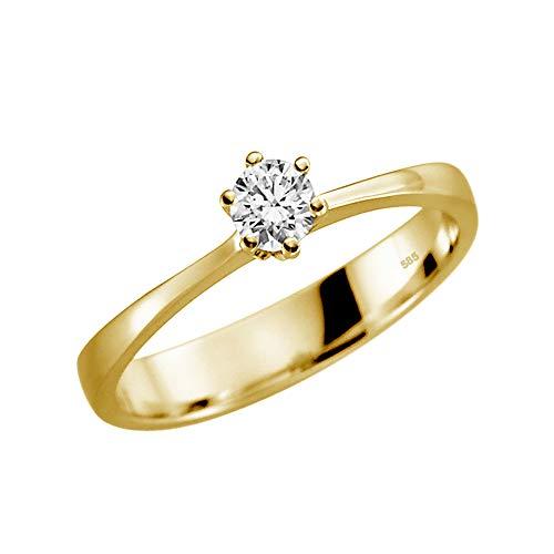 Juwelier Rubin Damen-ring Verlobungsring Gelbgold Weißgold Weissgold 585 Gold (14 Karat) Stein Zirkonia Brillantschliff Solitär Heiratsantrag Goldring Geschenke (14 Karat (585) Gelbgold, 56 (17.8))