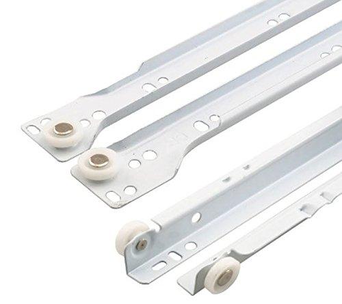 10 X Mprofi MT® (10 Paar) SCHUBLADENSCHIENEN WEIß 550 mm Rollenführung Schubladenauszug Teilauszug V5501