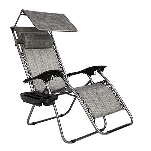 Yi-xir klassisches Design Nugendender Gravity Lounge Chair mit Markise Freizeitstuhl grau Perfekt und komfortabel