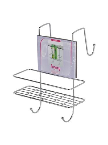 FERIDRAS Francy Étagère 1 étages avec Crochet Douche, rectangulaire, Acier, Chrome, 21 x 25 x 32 cm
