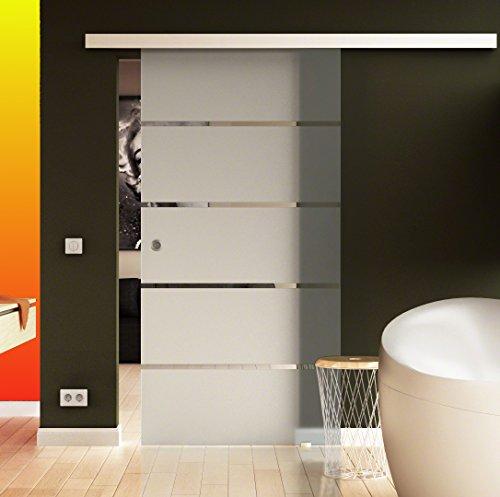 Glazen schuifdeur in horizontaal strependesign (S-design) 1025 x 2050 mm (B x H) van de Duitse fabrikant Levidor, voor binnen en buiten, levering compleet met schelphandvat en installatiemateriaal. Zeer hoogwaardig en stijlvol, rustig en stijlvol