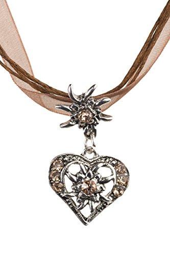Trachtenkette elegantes Herz mit Strass und Edelweiss in vielen Farben - Anhänger Trachtenschmuck Kette für Dirndl und Lederhose Damen (Light Brown)