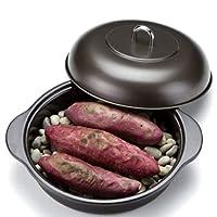 高木金属工業 焼き芋器 ホーロー石焼きいも器 石付き (IH200V・ガスコンロ対応)