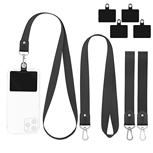 Phone Lanyard, 4 Pack Universal Nylon Cell Phone Lanyard Holder for Around the Neck for Women, Wrist Key Chain Lanyard Compatible with Most Smartphones (Black Black)