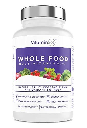 VitaminIQ Whole Food Multivitamin for Men (120 Vegetarian Capsules) Men's Multi Vitamin and Mineral Supplement with Calcium, Magnesium, Selenium, Vitamins A, B6, C, D3, E and More