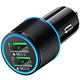 USB Car Charger 36W 2 Port Quick Charging Double Aperture Blue Light & QC 3.0 Dual Port Smart Fast Car Charger USB Car Adapter for iPhone, Samsung, Motorola, LG