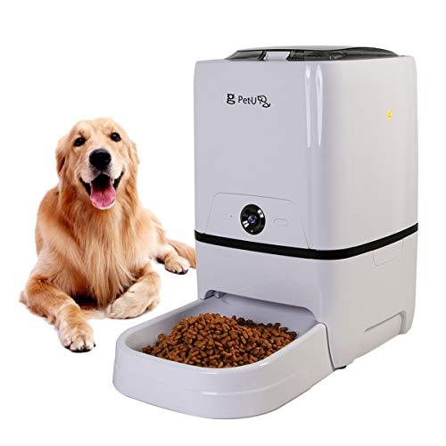 Huntfgold 6L Automatischer Futterautomat Futterspender Smart Pet Feeder für Katzen Hund mit HD Kamera Voice Recorder Gesteuert durch App