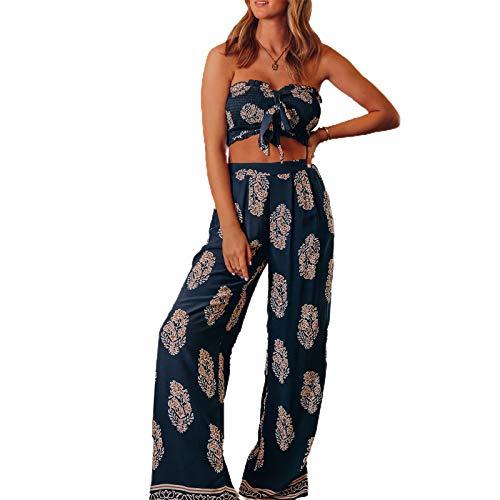 GuliriFe Conjunto de 2 piezas para mujer, estilo bohemio, estampado sexy sin mangas y pantalones largos holgados de pierna ancha